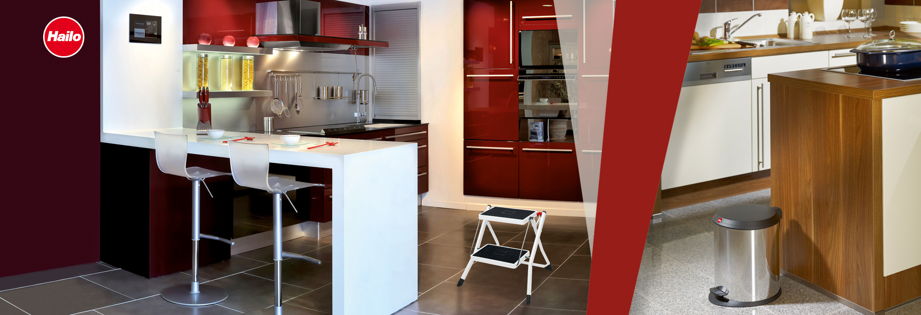 Ladders and steps for home and garden, waste bins and accessories for kitchen and bathroom The Convincing range of products for every demand