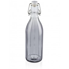 Leifheit Faceted Glass Bottle 500 ml, Smokey grey, Set of 2