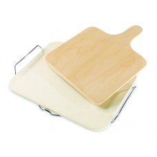 Pizza Stone with Wooden spatula
