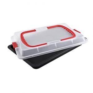 Dr.Oetker rectangular spring form with enamebasl e and carry lid 38 x 25 cm